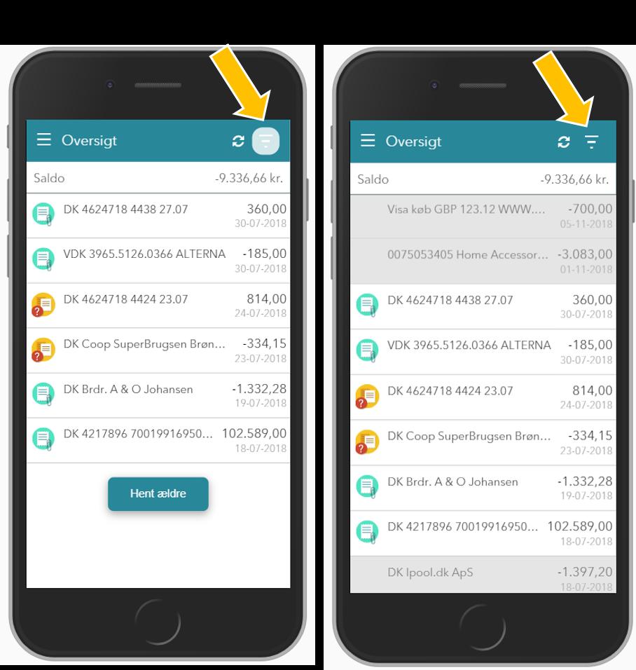 Filter til at vise ubehandlede transaktioner