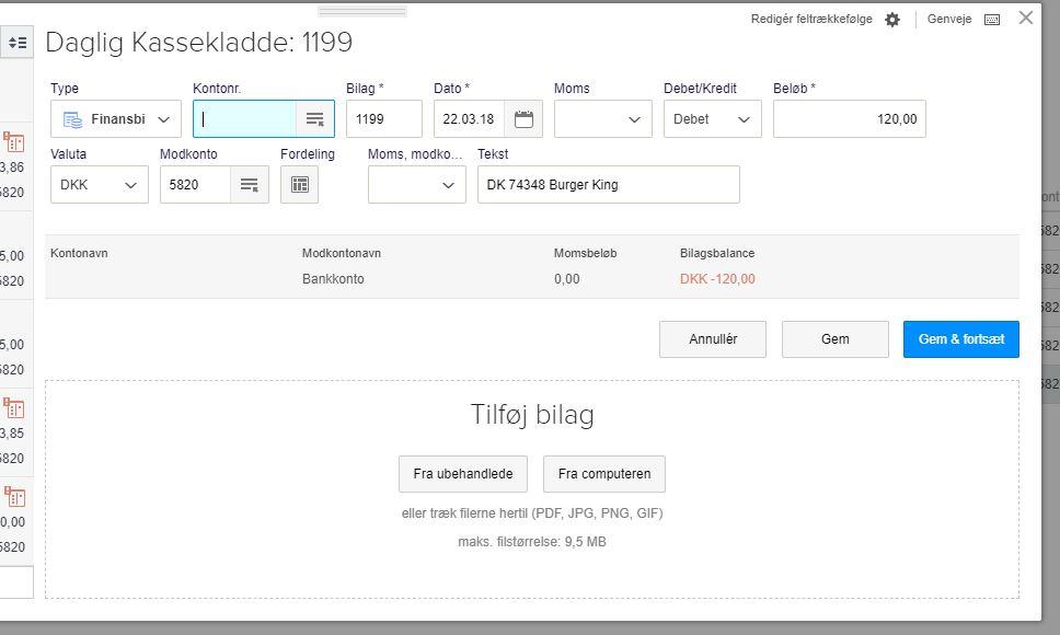 Tilføj bilag til bogført postering i e-conomic
