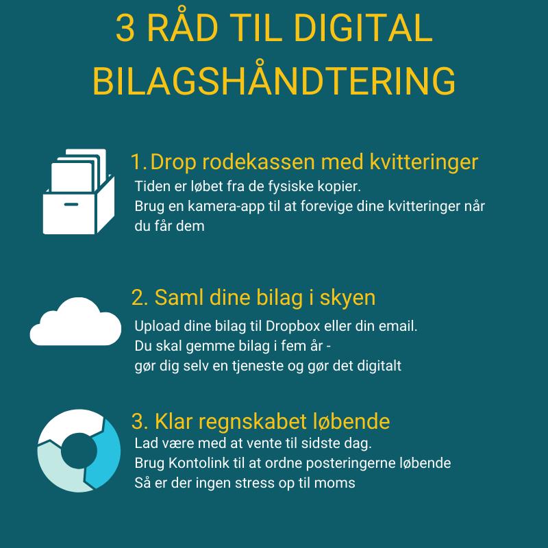 3 råd til at håndtere bilag digitalt: drop rodekassen med kvitteringer, saml dine bilag i skyen, klar regnskabet løbende